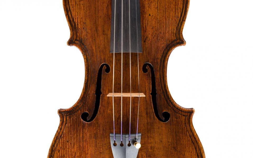 <p>Detail of the Top of the Maggini viola</p>